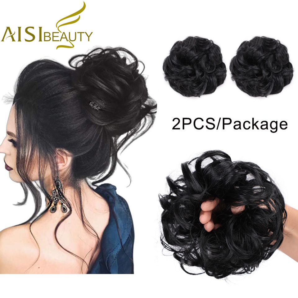 AISI BEAUTY Synthetic Hair Bun Extensions 2PCS Curly Chignons Messy Donut Chignons Hair Piece Scrunchie Scrunchy Updo Hairpiece