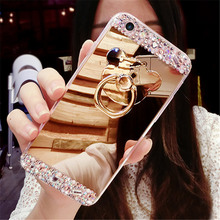Fancy Diamond Bear Crystal Stone Finger Ring Stand Mirror Phone Case For iphone 11 Pro Max X XS Max XR 7 8 Plus 6 6s 5s Coque цена и фото