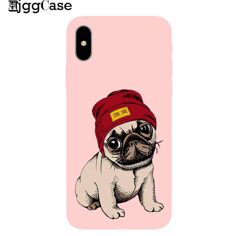 Bonito dos desenhos animados cão pug capa rosa TPU Silicone Suave Phone Case Para iPhone 5 5S SE 6 7 6S 8 Plus X XS MAX XR capa Protetora de volta