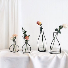 Retro Iron Line Flowers Vases Nordic Decoration Home Metal Holder Nordic Styles Flower Basket Home Decor For Artificial flower