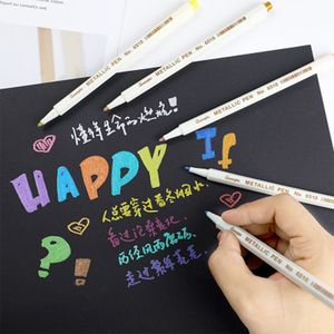 Image 1 - 10 Stks/set Metallic Marker Pen Art Marker Kleurrijke Leuke Plastic Levert Briefpapier Scrapbooking Ambachten