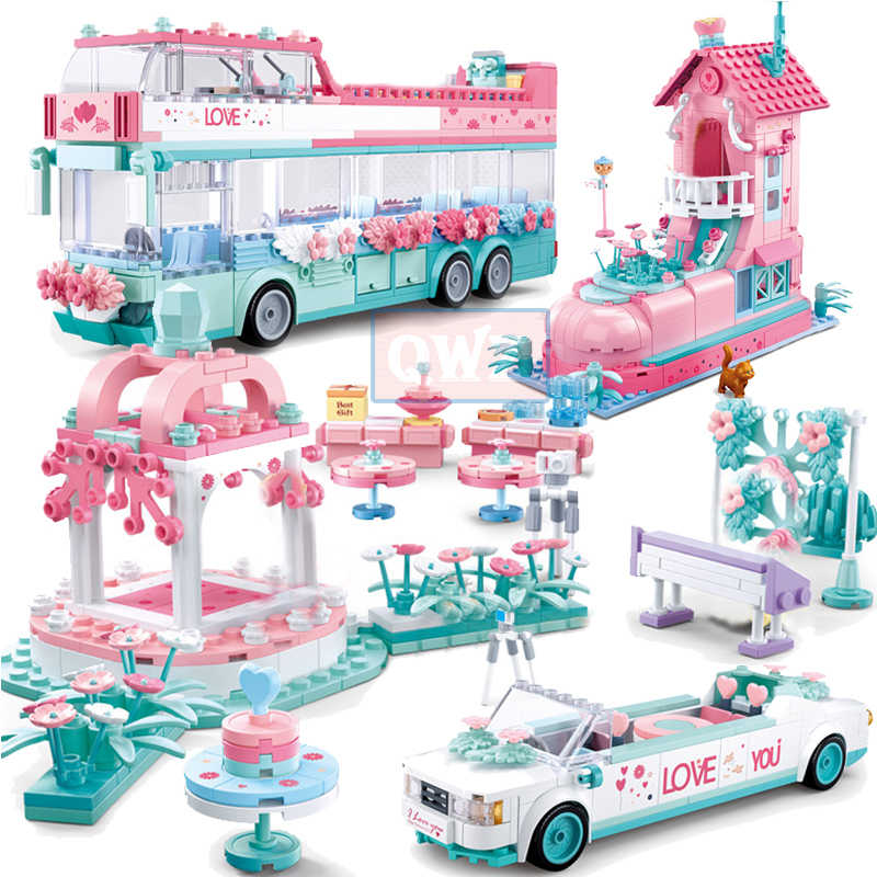 City Wedding Party Legoes Car Girl Friends Romantic Wedding Dress Model Building Blocks Bricks Princess Prince Toy Children Gift
