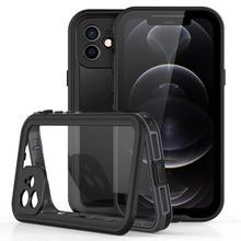 Funda impermeable IP68 para iPhone 12 Pro Max 12 Mini 11 Pro X 10 XR XS Max, funda transparente para teléfono a prueba de agua