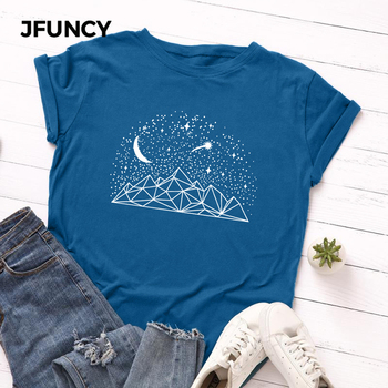 JFUNCY Plus Size Summer Women's T-shirts 100% Cotton T Shirt  Creative Print Woman Tshirt Short Sleeve Loose Female Tee Tops jfuncy cute avocado cat print oversize women loose tee tops 100% cotton summer t shirt woman shirts fashion kawaii mujer tshirt