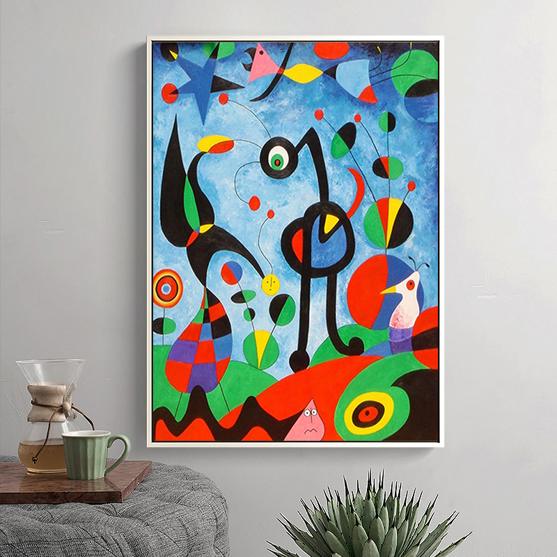 Abstract Paintings by Joan Miro Printed on Canvas