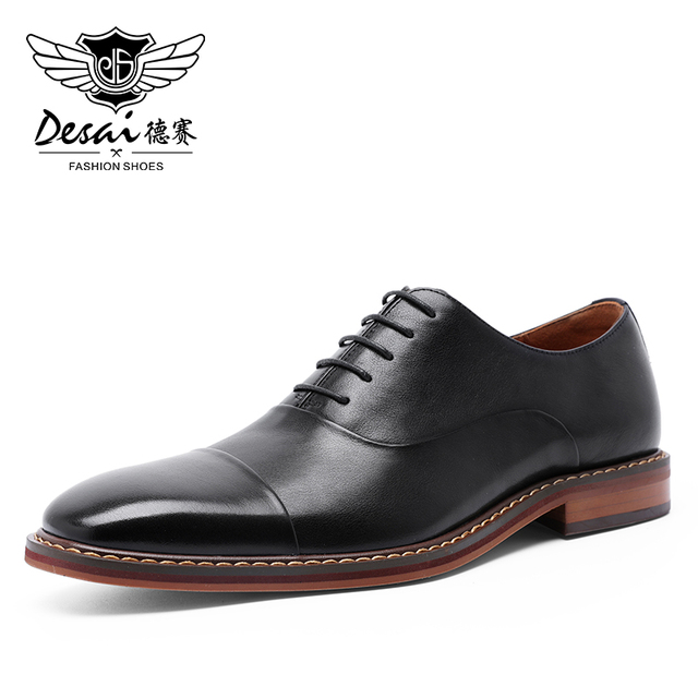 DESAI Brand Italian Handmade Design Vintage Mens Casual Oxford Shoes Formal Luxury Party Wedding Real Genuine Leather Shoes Men