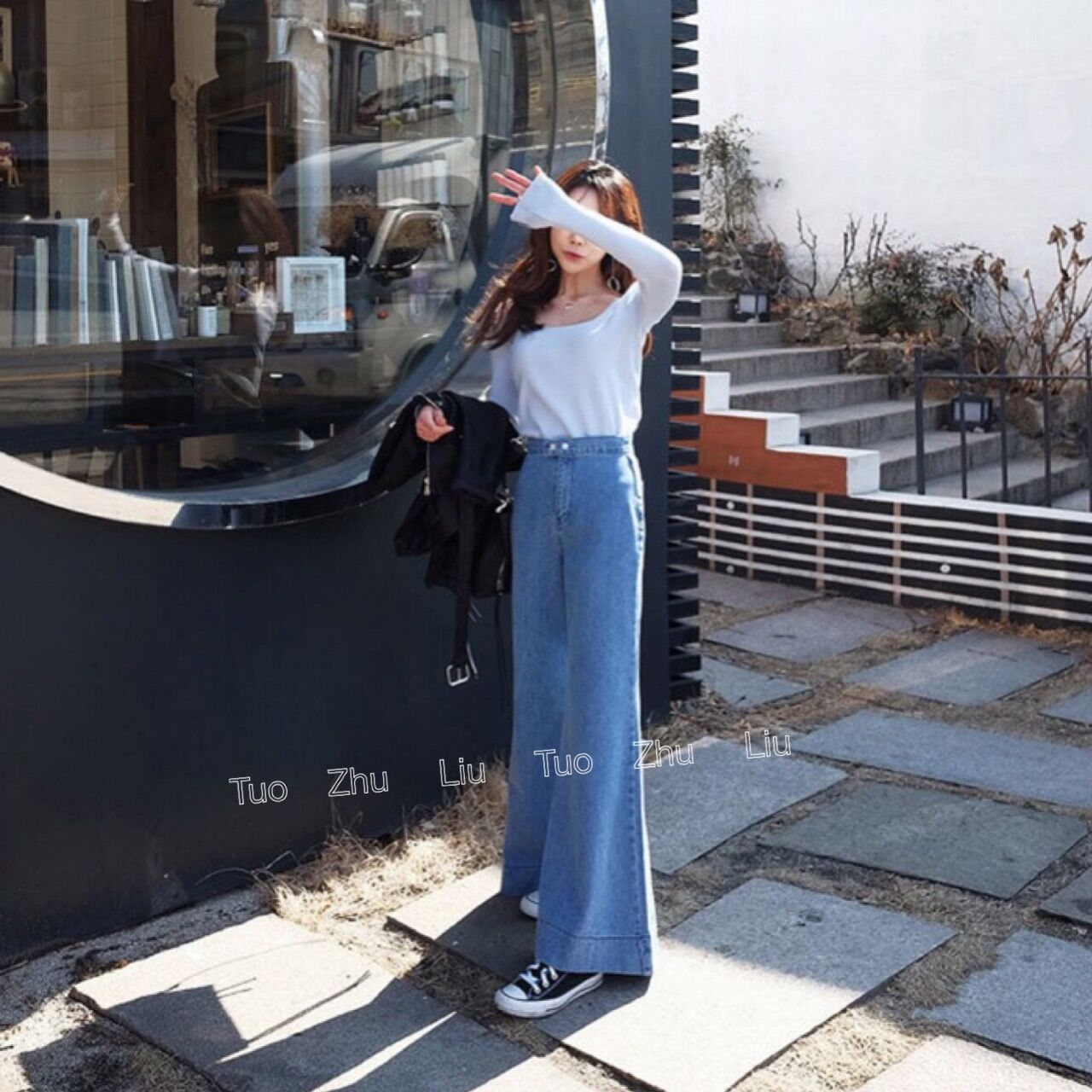 2019 South Korea Dongdaemun New Style Retro Elegant High-waisted Slimming Loose-Fit Wide-Leg Trumpet Washing Jeans Women's