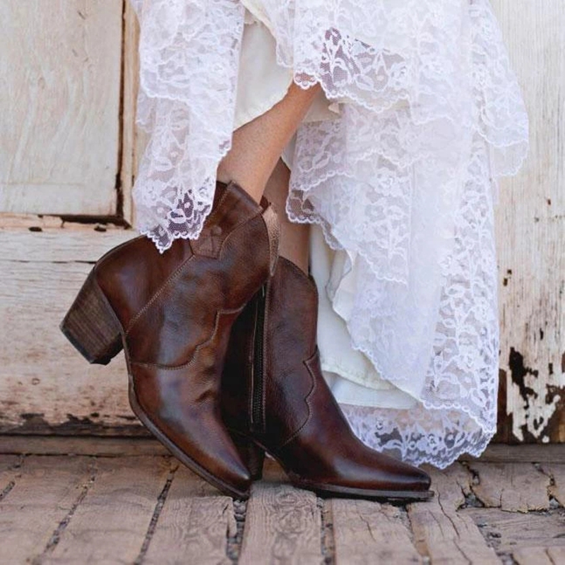 2019 Chic Women <font><b>Boots</b></font> Shiny PU Leather Autumn Winter Shoes Woman Spuare Toe <font><b>Block</b></font> <font><b>Heels</b></font> <font><b>Ankle</b></font> <font><b>Boots</b></font> Female Botas Zapatos Mujer image