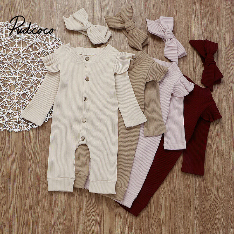 Pudcoco Baby Girl Boy Cotton Clothes Knitted Romper Jumpsuit Headband Autumn Outfits Costume Toddler Girls Winter Clothing Set