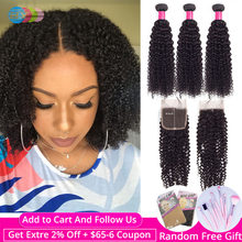 BY Kinky Curly 3 Bundles With Closure Brazilian Hair Weave Bundles With Closure 4x4 Human Hair Lace Closure Remy Hair Extension(China)