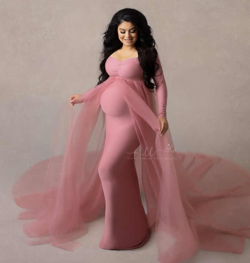 Maternity photo shoot gown pink maternity photoprops dress off shoulder long maternity dress pregnant women lace maternity baby shower dress