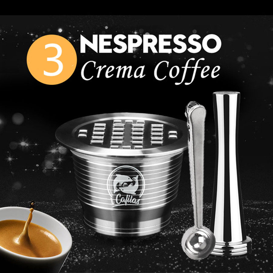ICafilas Stainless Metal Reusable Nespresso Capsule With Press Coffee Grinds Stainless Tamper Espresso Coffee Maker Basket