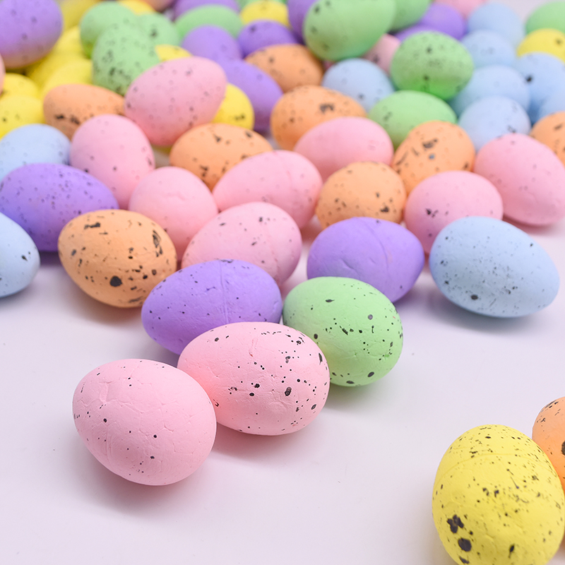 10/20/30Pcs 4*5cm Easter Bubble Bird Egg DIY Painted Mixcolor Foam Egg Handmade Craft Kids Toy Happy Easter Home Party Decor