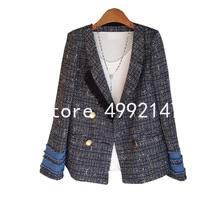 2020 autumn women shawl collar denim patchwork tassel OL tweed blazers Korean do