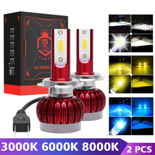 цена на H7 80W Led H4 Headlight Bulb Car HeadLamp H1 H3 H7 9005 HB3 9006 HB4 H8 H9 H11 12V 3000K 6000K 8000K 8000LM COB Auto Fog Lights