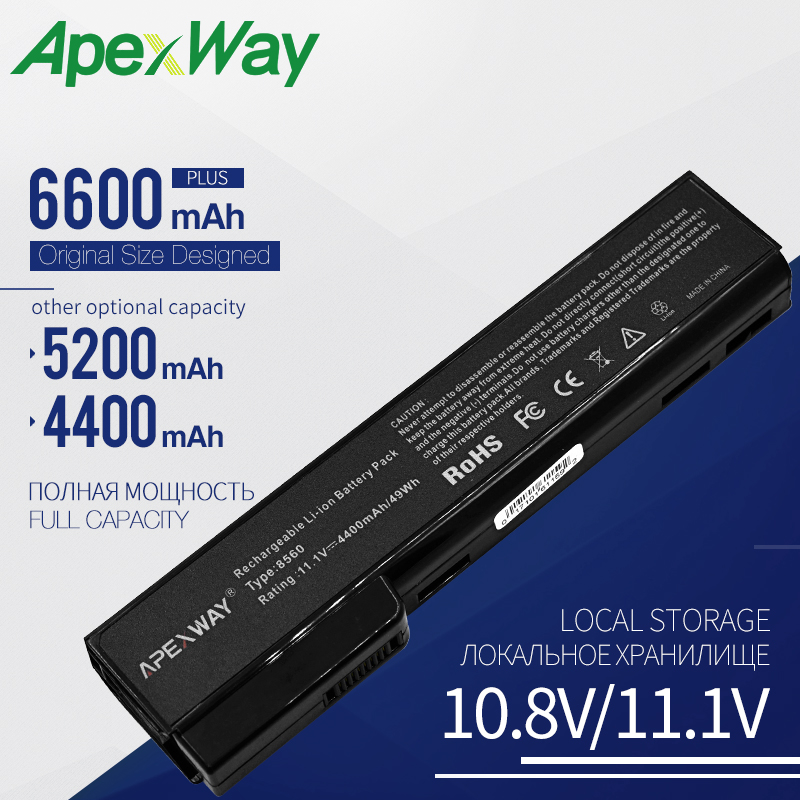 Apexway Laptop <font><b>battery</b></font> for HP 6360T 6360b 8460p 8460w 8470w 8560p <font><b>8570p</b></font> 8760p 8760w 8770p 8770w 6360b 6460b 6465b 6560b 6565b image