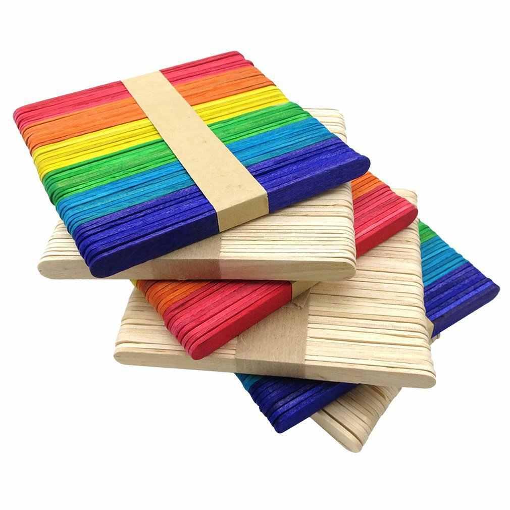 色の木製アイスキャンデースティックナチュラル木製のアイスクリーム子供 DIY 手工芸品手作りの建物モデル材料