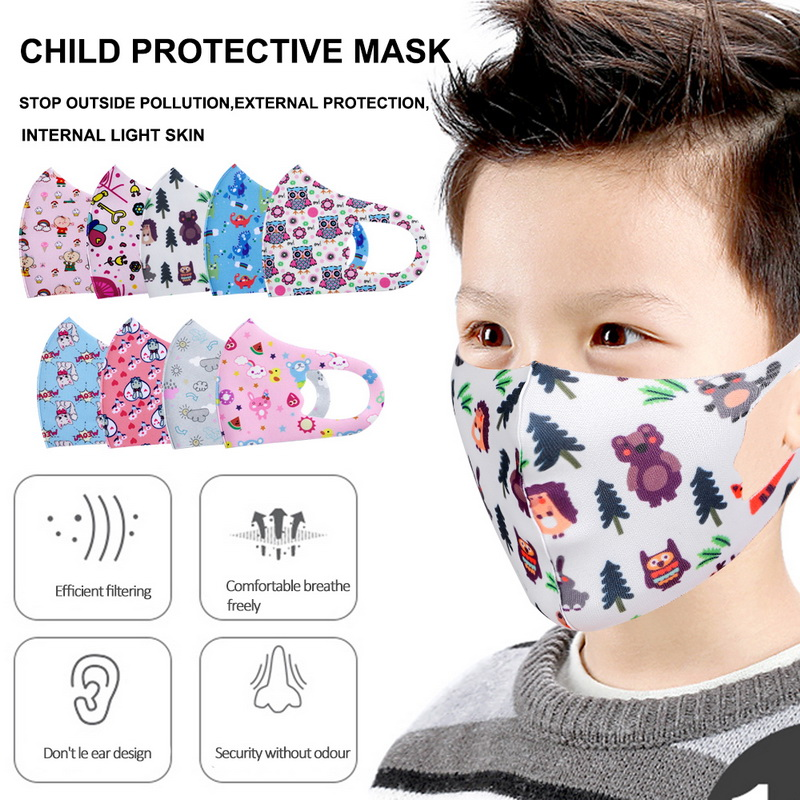 10pcs Pattern Child Face Masks For Girl Boy Kids Washable Reusable Anti PM2.5 Cotton Mouth Masks Anti Dust Earloop Mask