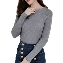 Women O Neck Sweater Pullover Knitted 2019 Tops Soft Ladies Autumn Winter Slim