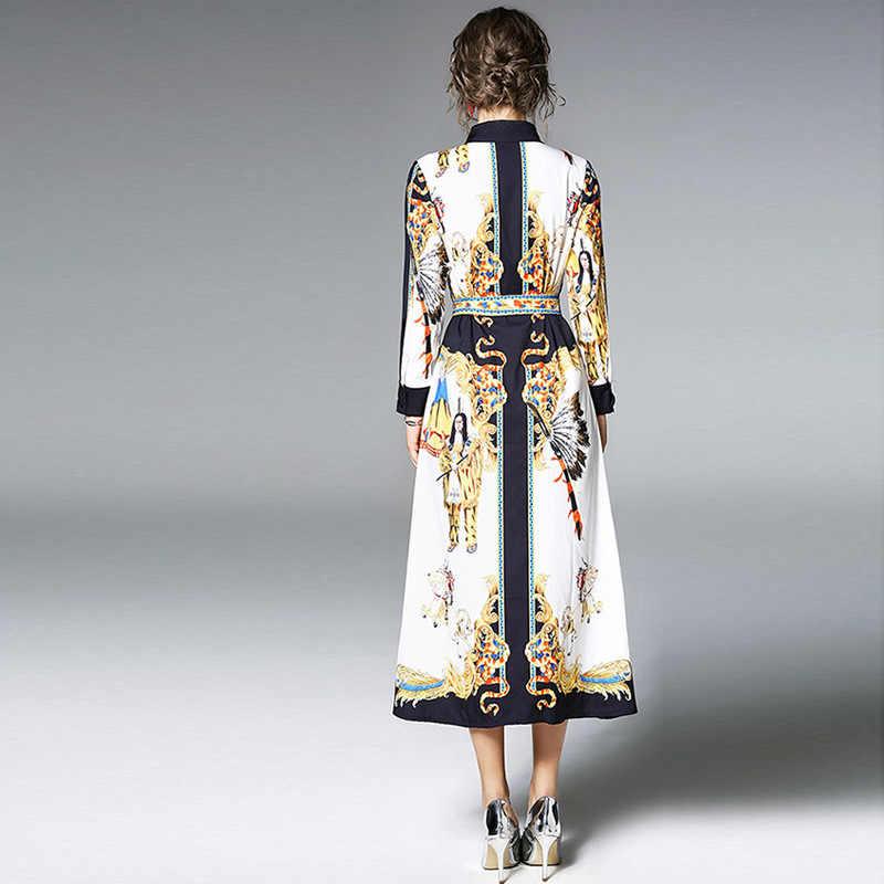 Femmes robe longue 2020 printemps Vintage impression chemise robes élégant Maxi robe femme vestidos femmes vêtements B30721