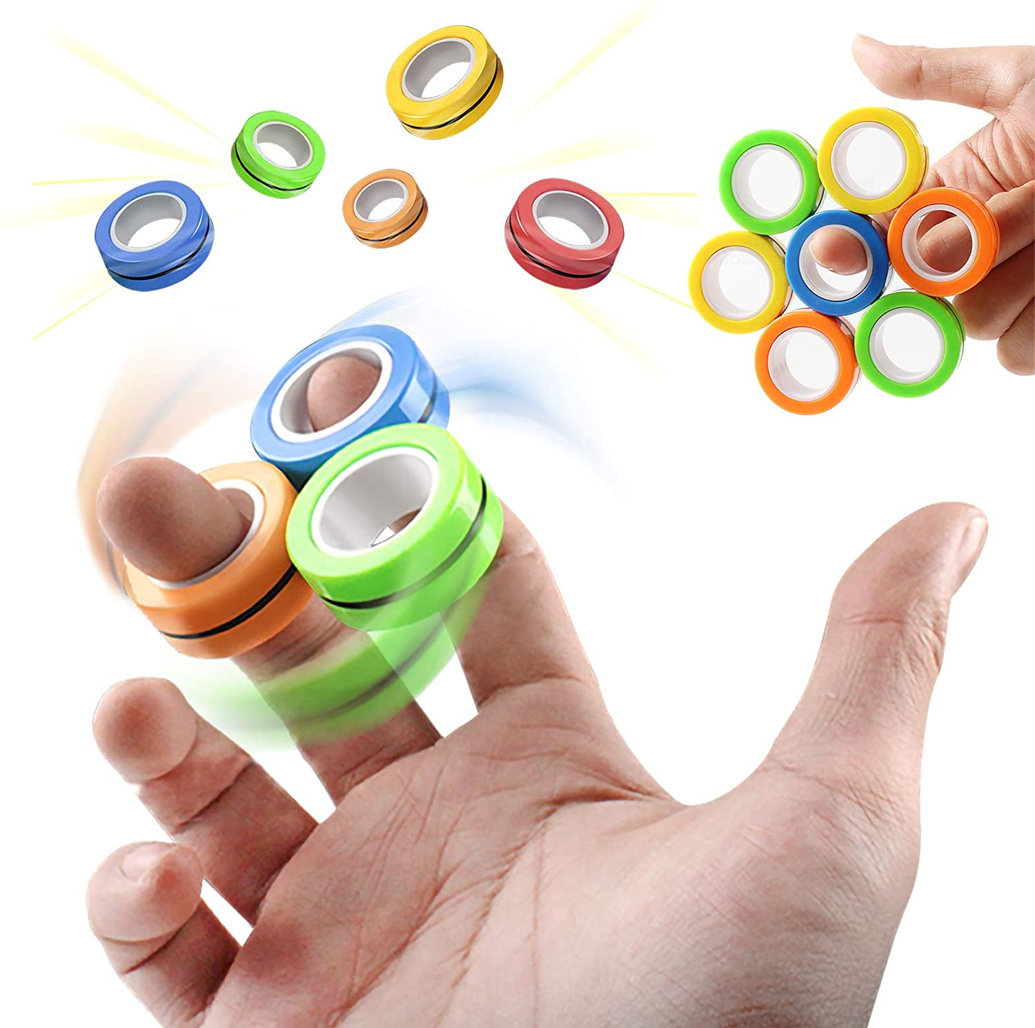 3pcs Magnetic Ring Fidget Toys for Stress Relief Anti Anxiety ADHD Focus Boredom Magnetic Blocks for Kids Hand Spinner|Fidget Spinner| - AliExpress