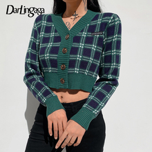 Darlingaga Vintage V Neck Plaid Cropped Cardigan Women Sweaters Fashion Single Breasted Y2K Preppy Style Knitted Sweaters Korean