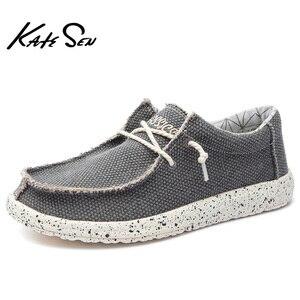 Image 2 - KATESEN 2020 קיץ גברים של נעלי בד קל משקל לנשימה להחליק על נעליים יומיומיות אופנה חוף חופשת ופרס גדול גודל 48