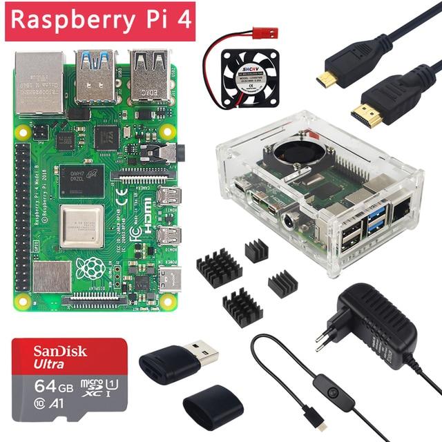 Raspberry Pi 4 Model B 2 ГБ/4 ГБ/8 ГБ ОЗУ + чехол + вентилятор + радиатор + адаптер питания + sd карта 32/64 ГБ + Кабель Micro HDMI для RPI 4B