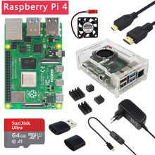 Raspberry Pi 4 Model B 2Gb/4 Gb/8Gb Ram + Case + Fan + Warmte sink + Power Adapter + 32/64 Gb Sd-kaart + Hdmi-Compatibel Voor Rpi 4B