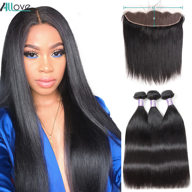 Fasci di capelli lisci brasiliani Allove con fasci di capelli umani frontali al 100% con chiusura capelli Non Remy 3 fasci con chiusura
