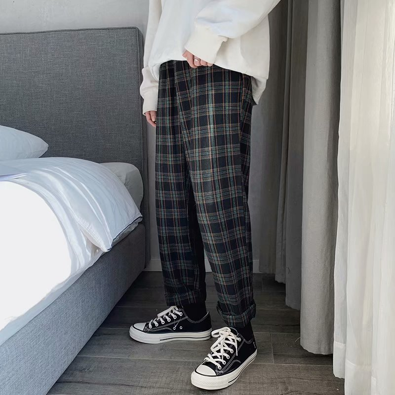 Spring Plaid Pants Men's Fashion Retro Drawstring Casual Pants Men Streetwear Wild Loose Hip Hop Straight Trousers Mens S-3XL