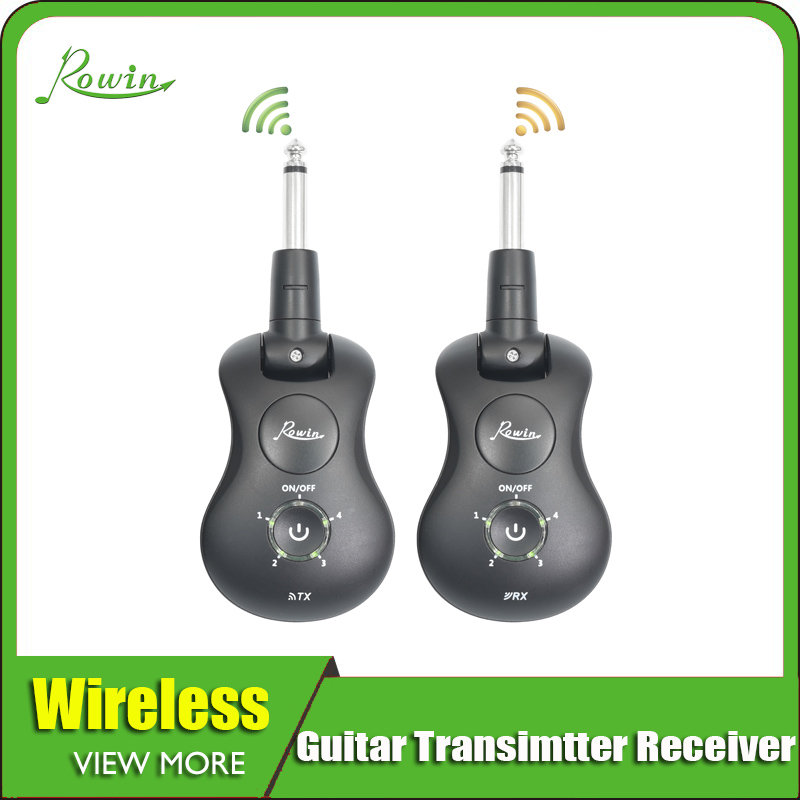 Rowin WS-30 Wireless Guitar System 2.4 GHz Rechargeable 4 Channels Wireless Guitar Transmitter Receiver For Electric Guitar Bass