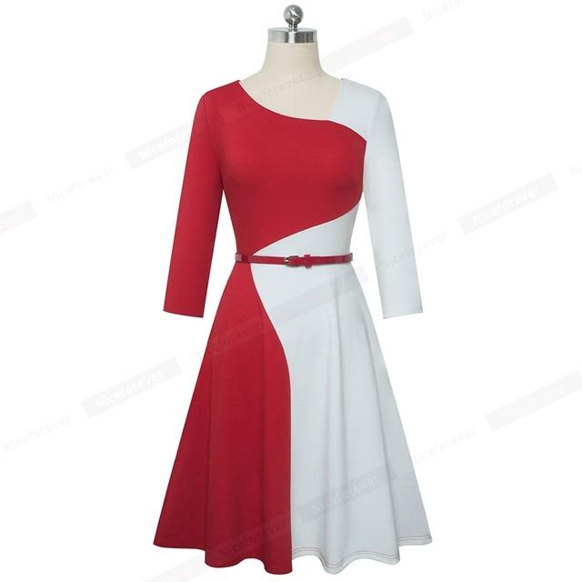 Nice-forever 1950s Retro Contrast Color Patchwork Winter vestidos Business Party Flare A-Line Women Swing Elegant Dress A178 4