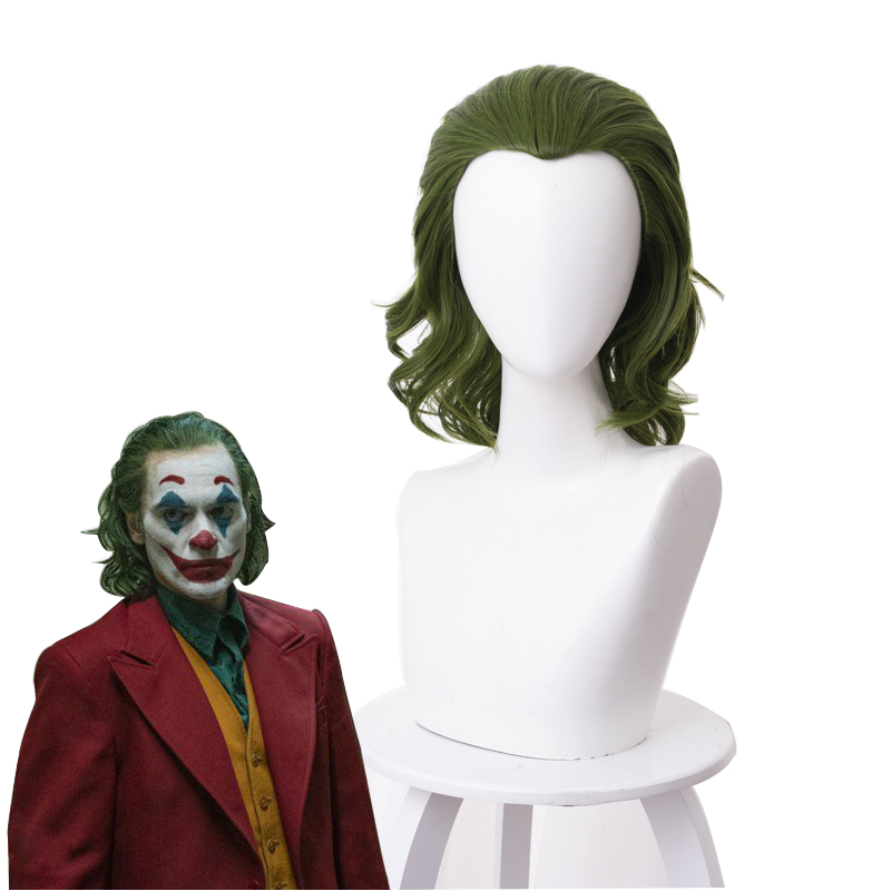 Joker Wig Movie Pennywise Joaquin Phoenix Arthur Fleck Clown Batman Cosplay Curly Green Synthetic Hair Wig With Free Wig Cap
