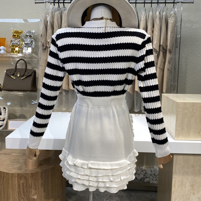 Causal Knitted Sweater 2 Piece Set Women Outfits Striped Long Sleeve Elegant Cardigan Top + Pleated Mini Skirts Two Piece Suits 4