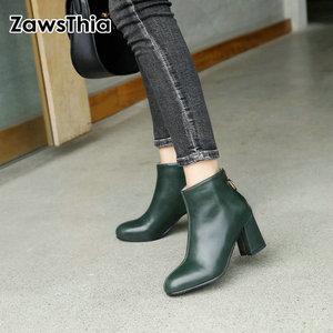 Image 1 - ZawsThia PU yuvarlak ayak yeşil blok yüksek topuklu kadın stilettos pompaları moda yarım çizmeler kadınlar için martin çizmeler kadın ayakkabı