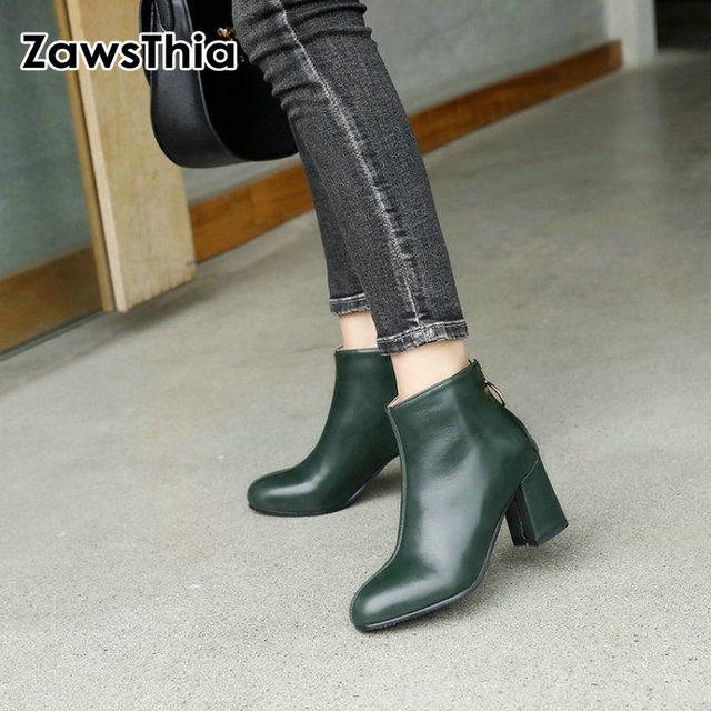 ZawsThia PU yuvarlak ayak yeşil blok yüksek topuklu kadın stilettos pompaları moda yarım çizmeler kadınlar için martin çizmeler kadın ayakkabı