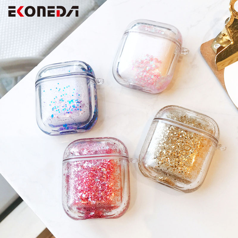 EKONEDA Liquid Glitter Protective Case For Airpods Case Transparent Hard Bling Cover For Airpods 1 Case Airpods  2 Case