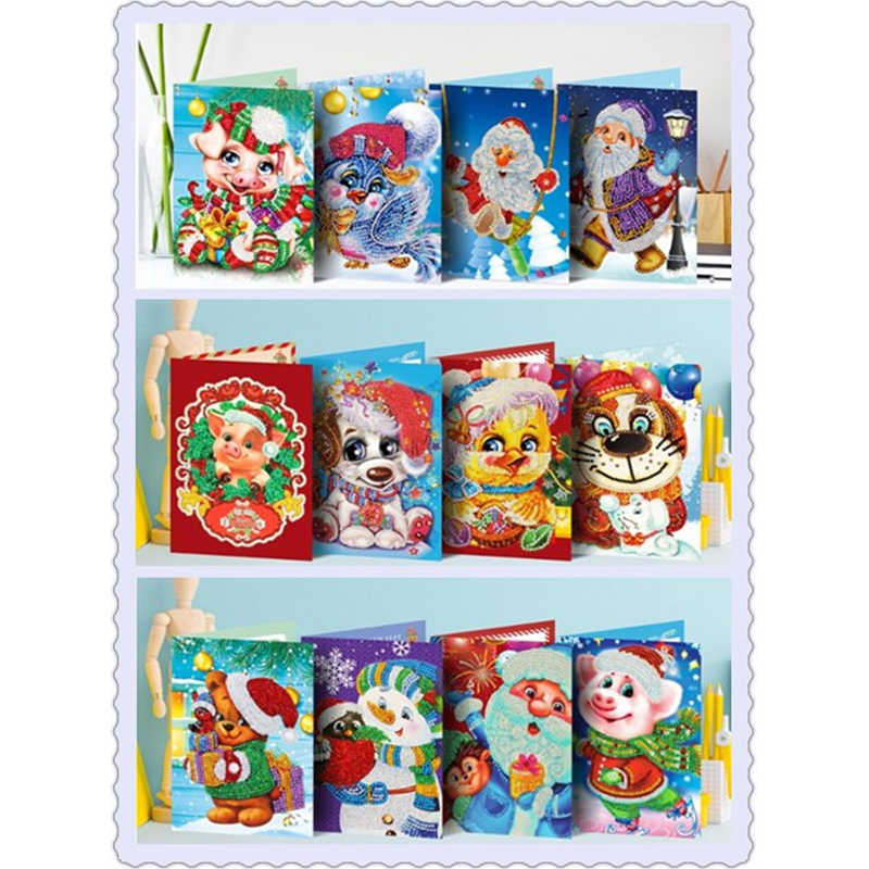 New 5d diy diamond painting christmas cards diamond mosaic embroidery beads full cartoon personalized animal christmas gift Sant