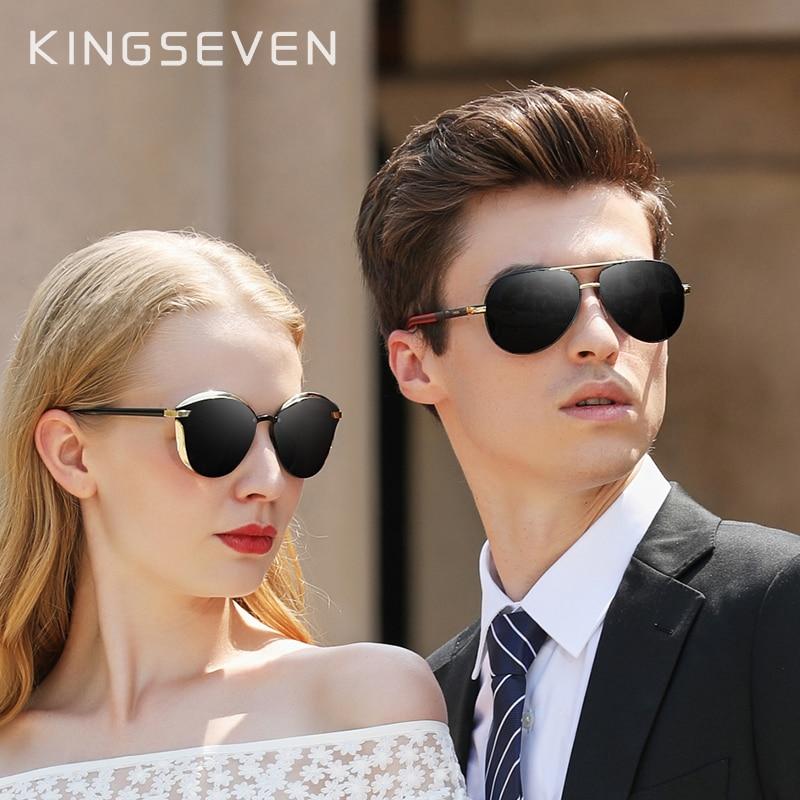 2pcs Lovers Combined Sales KINGSEVEN Women's Polarized Sunglasses Men/Women Sun Glasses Male Goggle UV400 Gafas De Sol