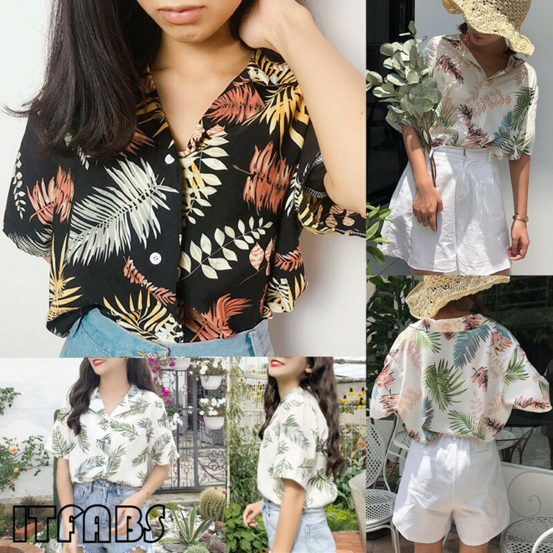 Women's Fashion Summer Casual Loose Half Sleeve Blouse Leaf Floral Printed Tops Shirt Plus  Size