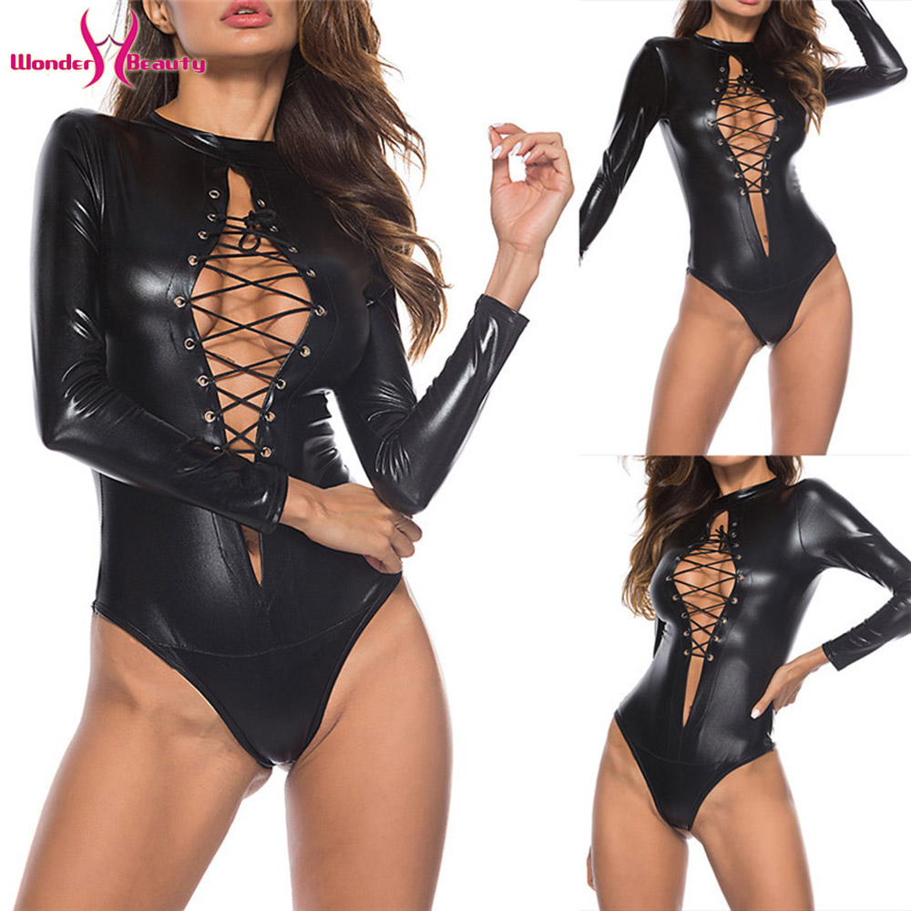 Women <font><b>Sexy</b></font> <font><b>Bodysuits</b></font> Lingerie Latex Leather Jumpsuits Bodycon Costume Playsuits Wetlook <font><b>Black</b></font> Catsuit Top Performance Clubwear image