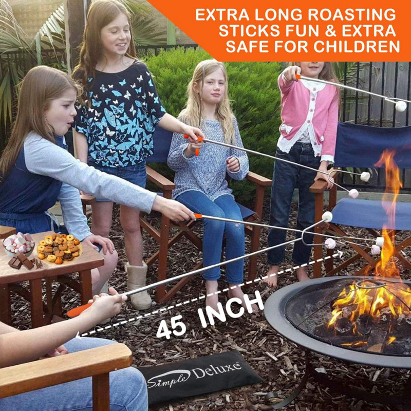 5pcs/set Camping Campfire Telescoping Roasting Fork Sticks Skewers BBQ Forks Fireplace Accessories Extendable Steel Fork Kit
