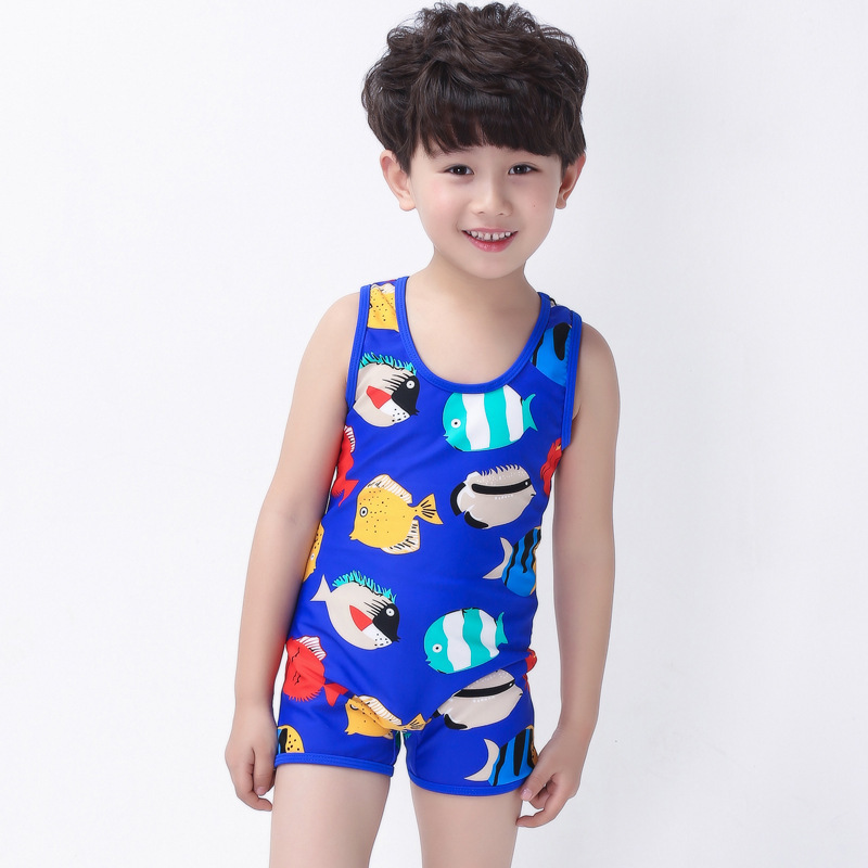 Place Of Origin Supply Of Goods 2017 South Korea Haiyishan KID'S Swimwear BOY'S One-piece Printed Tour Bathing Suit Cartoon Bath
