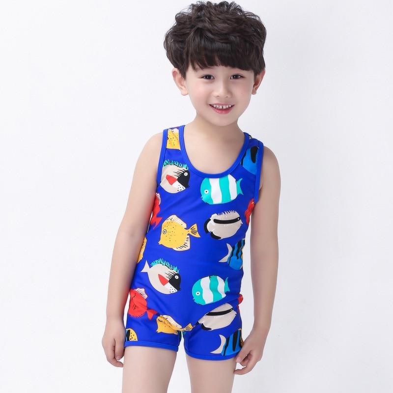 Place Of Origin Supply Of Goods 2017 South Korea Haiyishan KID'S Swimwear BOY'S One-piece Printed Tour Bathing Suit Cartoon Bath