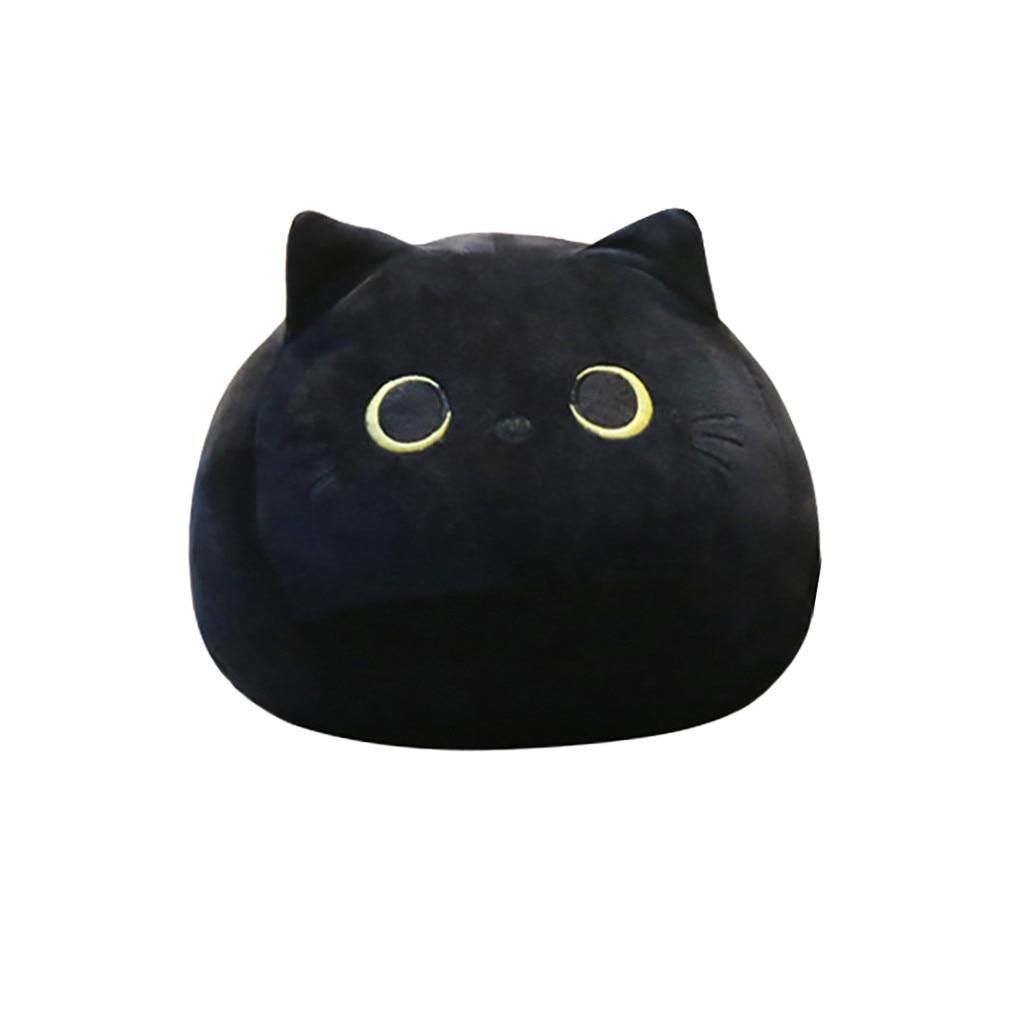 cute lovely black cat shaped plush pillows crystal flannel cartoon animal soft stuffed toys valentine day presents 40cm 50cm