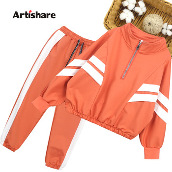 Girls Sport Clothes Striped Clothing For Girls Coat + Pants 2PCS Clothes Girl Teenage Children's School Clothing 6 8 10 12 14 1