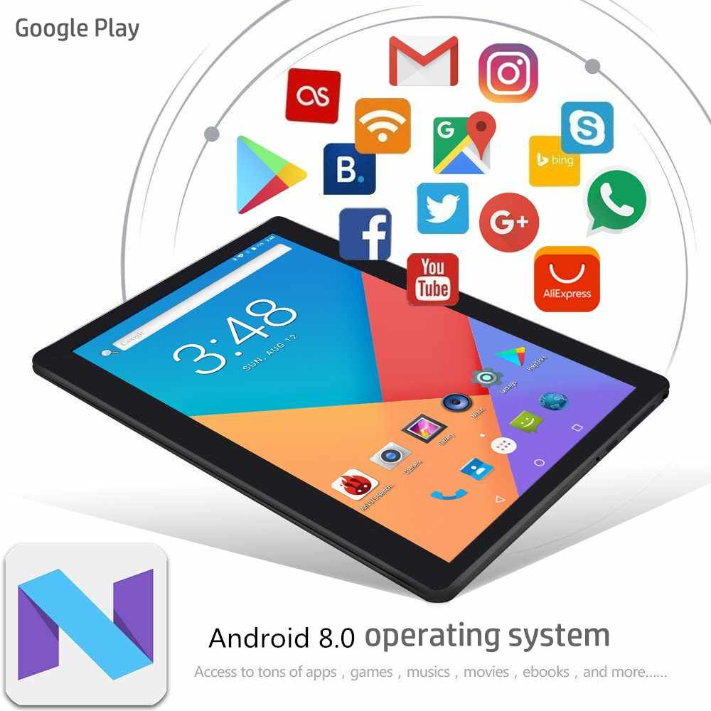 2019 nuevo 10 pulgadas 4G LTE Tablet PC Octa Core 4GB RAM 64GB ROM 1280x800 IPS 2.5D vidrio templado 10,1 tabletas Android 8,0 + regalos