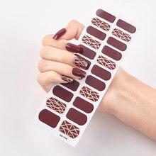 22 dicas/folha cor sólida e listrado manicure auto adesivo prego etiqueta envolve diy arte do prego adesivos 2020 adesivos