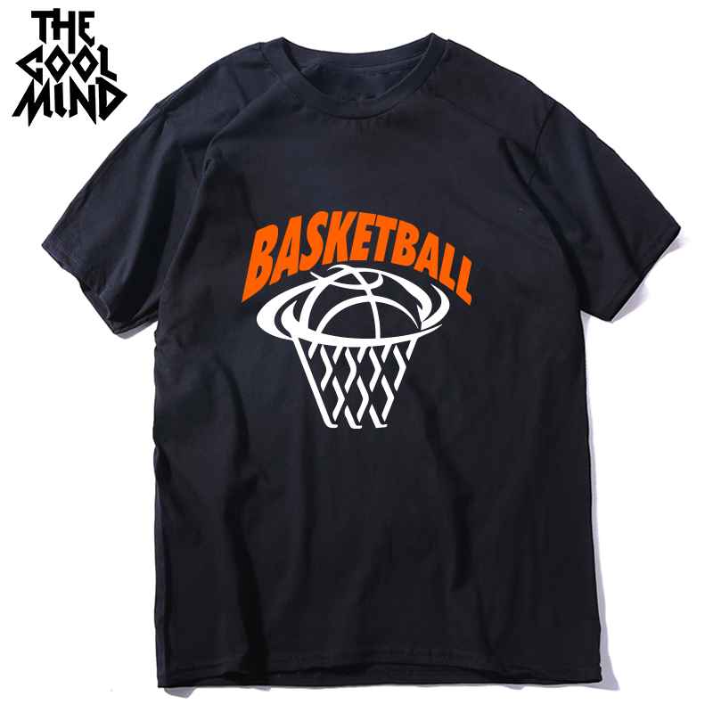 COOLMIND 180gsm Thickness 100% Cotton Basketball Print Men T Shirt Casual O-neck Short Sleeve Men Tshirt Cool Summer T-shirt Men